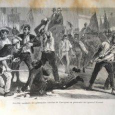 Arte: ASESINATO DEL GOBERNADOR INTERINO DE TARRAGONA EN PRESENCIA GENERAL PIERRAD .AÑO 1876. Lote 267493839