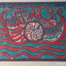 Arte: XILOGRAFIA FIRMADA Y FECHADA A LÁPIZ, 1957. Lote 267576454