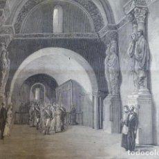 Arte: OVIEDO ASTURIAS ALFONSO XII VISITA A LA CAMARA SANTA ANTIGUO GRABADO XILOGRAFICO XILOGRAFIA 1877. Lote 276644833