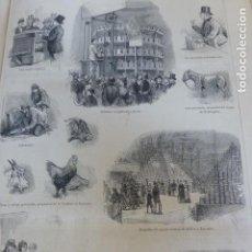 Arte: LONDRES VISITA AL AGURCULTURAL HALL ANTIGUO GRABADO XILOGRAFICO XILOGRAFIA 1877. Lote 276664598