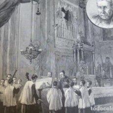 Arte: MONTSERRAT BARCELONA LA ESCOLANIA CANTANDO LA SALVE ANTIGUO GRABADO XILOGRAFICO XILOGRAFIA 1877. Lote 276668443