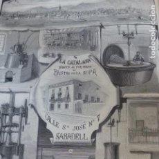 Arte: SABADELL BARCELONA FABRICA LA CATALANA PASTAS PARA SOPA ANTIGUO GRABADO XILOGRAFICO XILOGRAFIA 1877. Lote 276670668