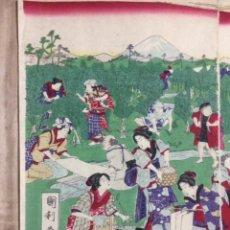 Arte: PRODUCCIÓN DE SEDA, KUNI TOSHI (1847-1899), MEIJI 20,1888. Lote 277203533