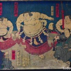 Arte: 14Y. SAKAIGAWA NAMIEMON Y 15 Y. UMEGATANI TŌTARŌ I, KUNIAKI, MEIJI 11,1879, 2 CHUBAN DE 17CM×24CM. Lote 279485343