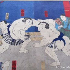 Arte: 17 YOKOZUNA KONISHIKI YASOKICHI I CONTRA ASASHIO I, MEIJI 25,1893, MARCO 62X50CM. Lote 279486128