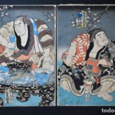 Arte: 10 YOKOZUNA UNRYŪ KYŪKICHI Y IOYAMA (KENRITSU SANKOKUSHI), UKIYOE DE TOYOKUNI III, EDO,1858, 2 OBAN. Lote 279486253