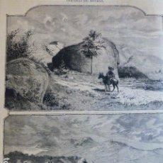 Arte: EL ESCORIAL MADRID LA SILLA DE FELIPE II ANTIGUO GRABADO XILOGRAFICO XILOGRAFIA 1874. Lote 286989643