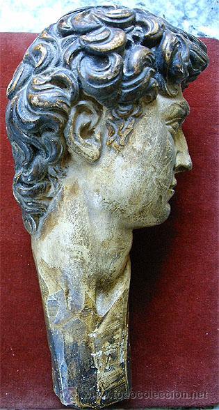 Arte: Antiguo busto de joven, en pasta de yeso y policromado. Medida 21x 10 x 11,5 cm. S.XVIII - Foto 4 - 27432622