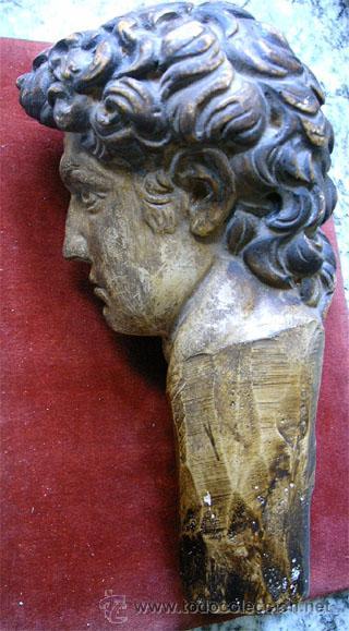 Arte: Antiguo busto de joven, en pasta de yeso y policromado. Medida 21x 10 x 11,5 cm. S.XVIII - Foto 6 - 27432622