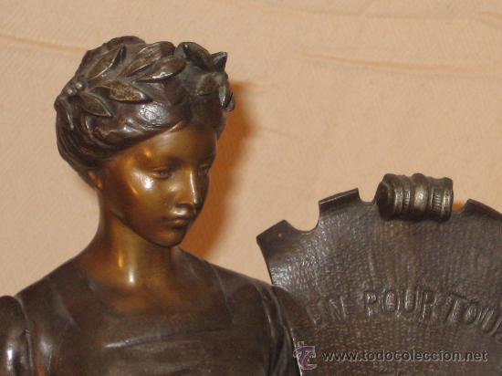 Arte: Escultura en calamina firmada de principios del siglo XX - Foto 2 - 26398905