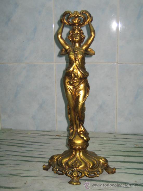 FIGURA FEMENINA.MODERNISTA.CALAMINA DORADA (Arte - Escultura - Otros Materiales)