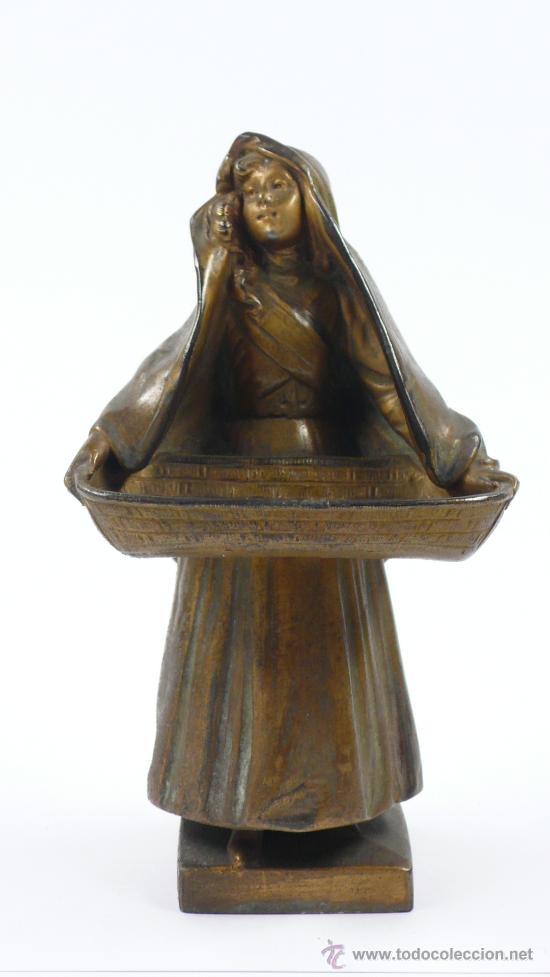FIGURA FEMENINA DE CALAMINA, FIRMADA: MAXIM , FINALES S.XIX. 16,5 CM ALTURA. (Arte - Escultura - Otros Materiales)