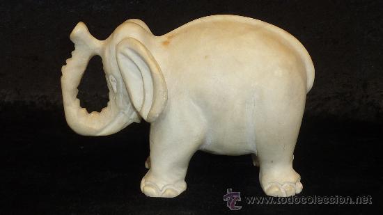 Arte: Precioso elefante de marmol esculpido a mano. Años 50s. - Foto 2 - 28050436