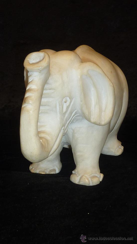 Arte: Precioso elefante de marmol esculpido a mano. Años 50s. - Foto 3 - 28050436