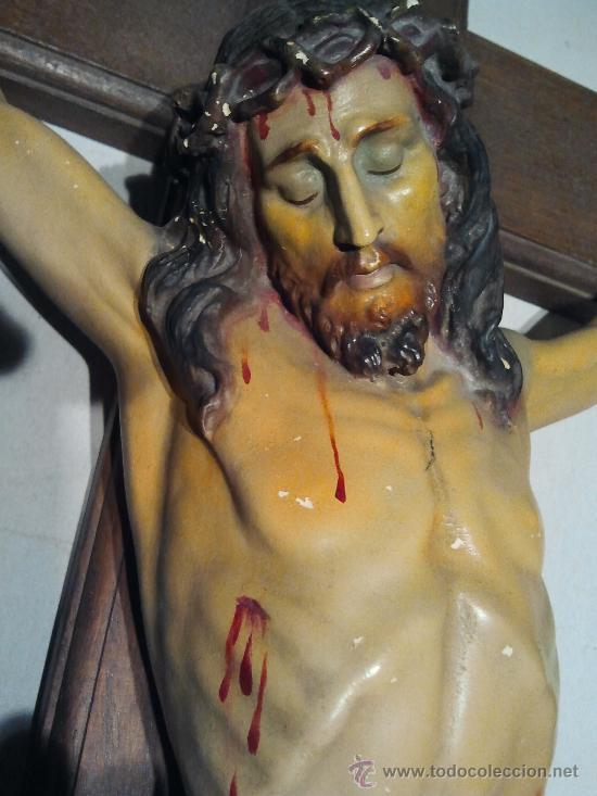 Arte: Cristo en la cruz. Estuco policromado. - Foto 2 - 33255535