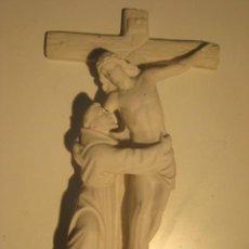 Arte: SAN FRANCISCO CON JESÚS CRUCIFICADO MARMOLINA (PLACA). Lote 33963707