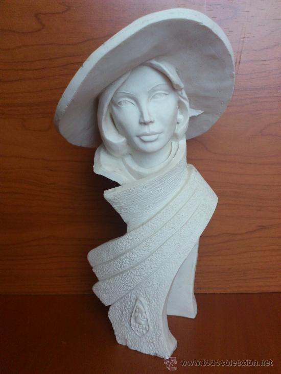 Arte: Busto vintage de elegante señora con pamela estilo art decó . - Foto 2 - 43419666