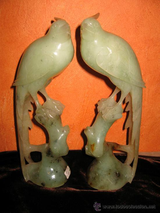 TALLA CHINA ANTIGUA PAREJA DE PÁJAROS EN PIEDRA JADE ALTURA 23 CM. BUEN ESTADO. (Arte - Escultura - Otros Materiales)