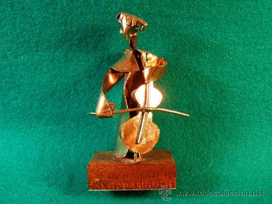 ANGEL,CONTRABAJO-FIGURA DE COBRE FIRMA GUILLEM DURAN-SURROCA-8X3X4 CM+PEANA-MEDIADOS XX- PIEZA UNICA (Arte - Escultura - Otros Materiales)