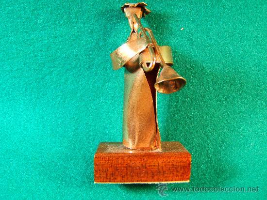 ANGEL CON TROMPETA-FIGURA COBRE FIRMADA GUILLEM DURAN-SURROCA-8X3X4 CM+PEANA-MEDIADOS XX-PIEZA UNICA (Arte - Escultura - Otros Materiales)