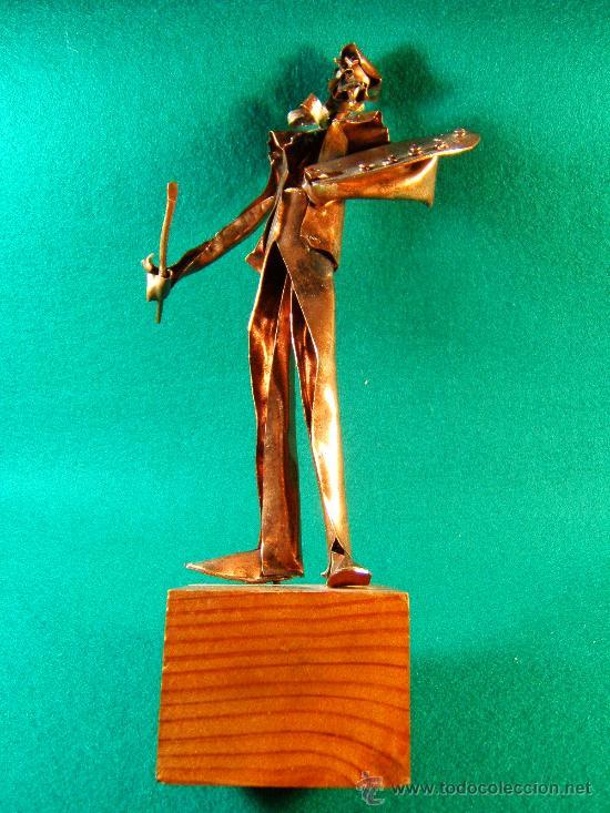 PINTOR Y PALETA -FIGURA COBRE FIRMADA DURAN-SURROCA -22X14X7 CM+PEANA -GUILLEM FRESQUET -PIEZA UNICA (Arte - Escultura - Otros Materiales)