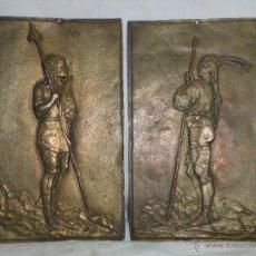 Arte: ANTIGUAS ESCULTURAS DE GUERREROS GALOS, EN ESTAÑO, S.XIX, ORIGINALES.. Lote 39762401