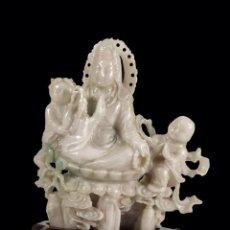 Arte: GUAYIN. TALLADA EN AUTÉNTICO JADE CHINA SIGLO XIX -XX. Lote 40305867