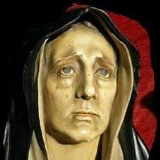 Arte: ANTIGUA BUSTO IMAGEN TAMAÑO REAL APROXIMADO 45 CM VIRGEN DOLOROSA ESTUCO BASE MADERA FIRMADA XOPA. Lote 40714510