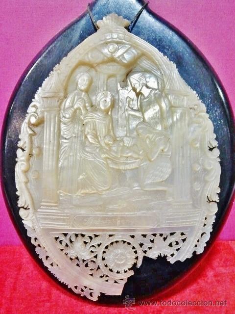 Arte: Concha de madreperla tallada y calada de gran calidad con escena El Nacimiento de Cristo. - Foto 2 - 42950558