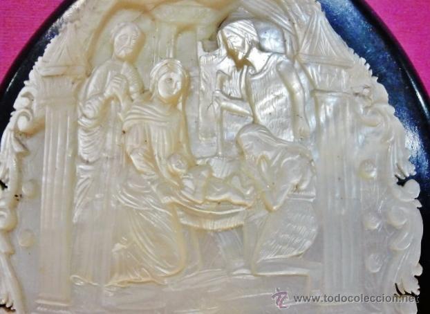 Arte: Concha de madreperla tallada y calada de gran calidad con escena El Nacimiento de Cristo. - Foto 3 - 42950558