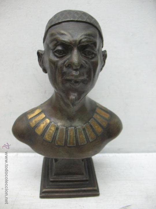BUSTO EGIPCIO EN METAL BLANCO (Arte - Escultura - Otros Materiales)