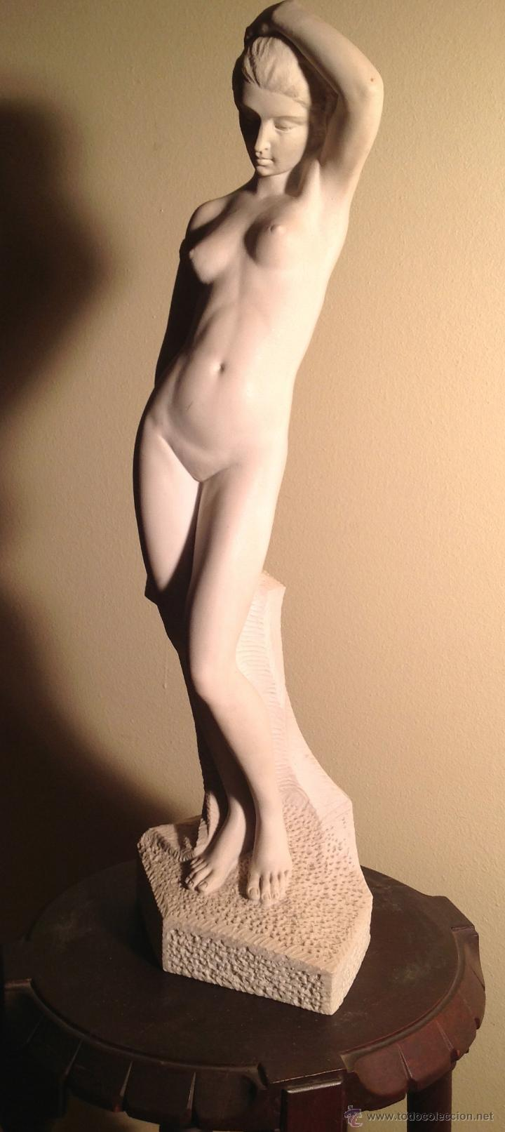 Arte: Escultura de Mármol Desnudo Señora Pieza Única / Miguel Senserrich Medidas 64X19CM - Foto 2 - 47328072
