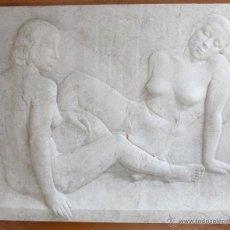 Arte: MARTÍ LLAURADÓ MARISCOT (BARCELONA, 1903 - 1957) ESCULTURA BAJO RELIEVE EN MÁRMOL. PAREJA DESNUDOS. Lote 47684388