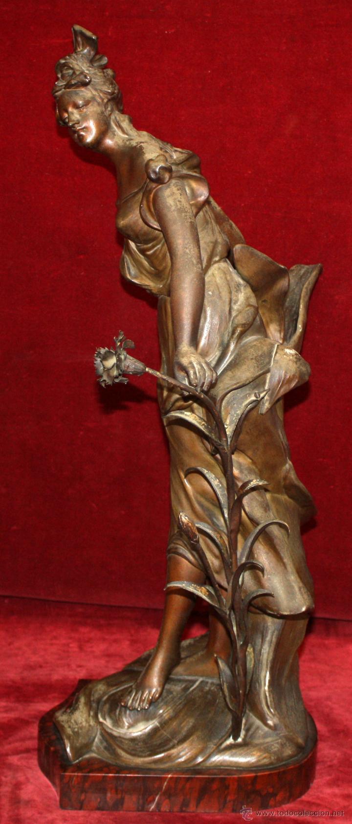 Arte: FIRMADO TAÏRO. ESCULTURA EN CALAMINA DE ÉPOCA MODERNISTA. TITULADA CEILLET - Foto 5 - 48955955