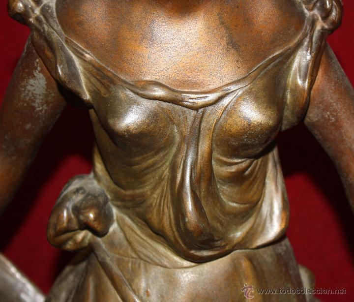 Arte: FIRMADO TAÏRO. ESCULTURA EN CALAMINA DE ÉPOCA MODERNISTA. TITULADA CEILLET - Foto 8 - 48955955