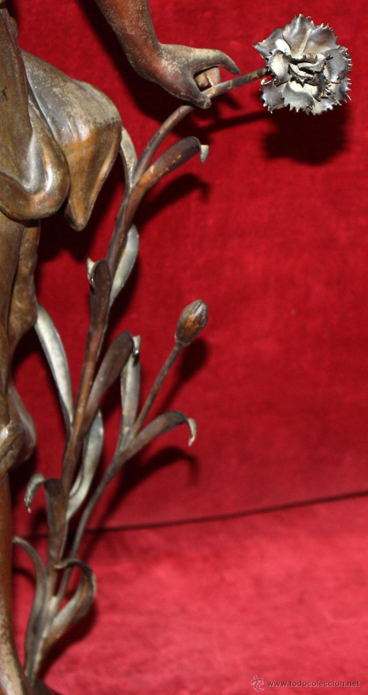 Arte: FIRMADO TAÏRO. ESCULTURA EN CALAMINA DE ÉPOCA MODERNISTA. TITULADA CEILLET - Foto 12 - 48955955