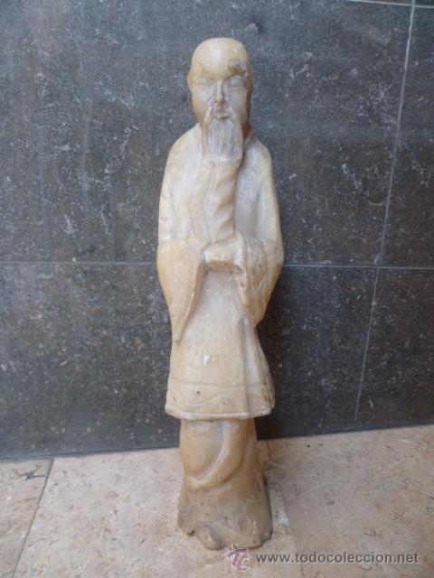 PRECIOSA ANTIGÜA ESTATUA ASIÁTICA DE MARMOL DE 50 CM. (VER FOTOS) (Arte - Escultura - Otros Materiales)