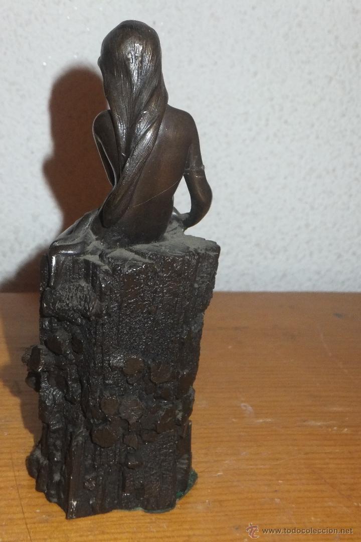 Arte: Escultura patinada en calamina figura femenina sobre roca fimada G.SCHOEMAN - Foto 4 - 50096845