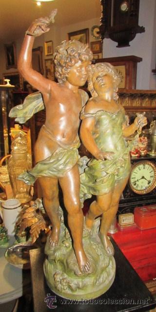 ESPECTACULAR ESCULTURA CALAMINA DEL SIGLO XIX (Arte - Escultura - Otros Materiales)