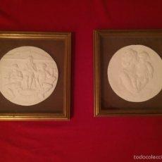 Arte: 2 MEDALLONES EN RELIEVES DE ESCAYOLA DEL ESCULTOR PERESEJO (1887-1978) ALCOY. Lote 56641443