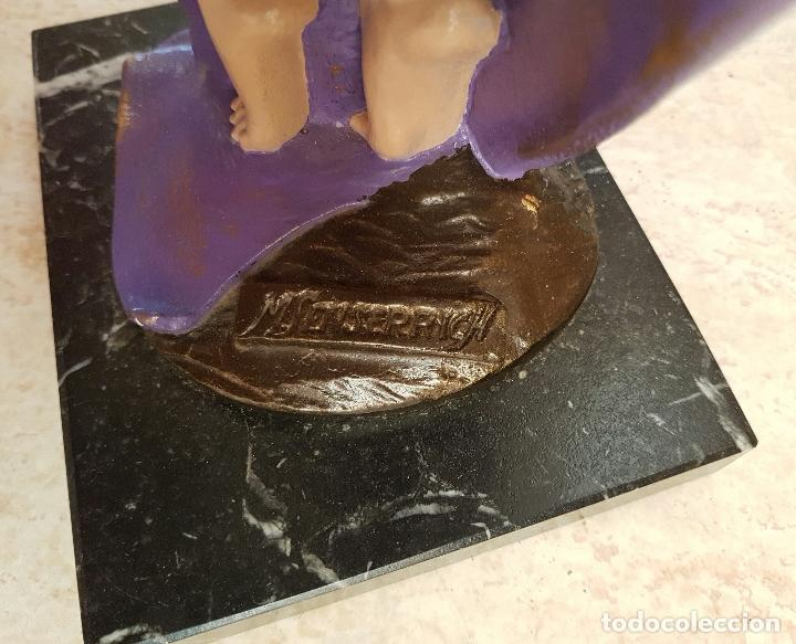 Arte: Gran escultura de doncella estilo art nouveau bellamente policromada a mano, firmada, M.Senserrich . - Foto 6 - 64781307