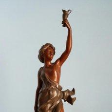 Arte: GRAN ESCULTURA EN CALAMINA CON PATINA DE BRONCE, DEL ESCULTOR JOSEPH BERTHOZ, XIX .. Lote 73525203
