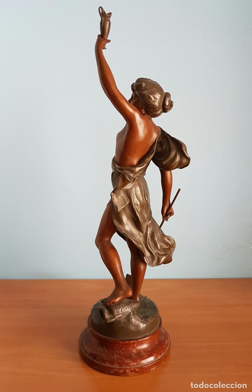 Arte: Gran escultura en calamina con patina de bronce, del escultor Joseph Berthoz, XIX . - Foto 4 - 73525203