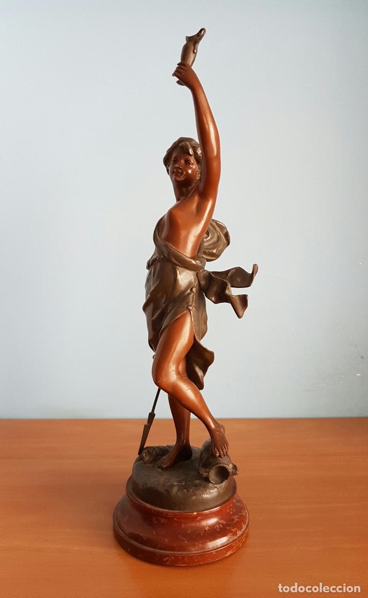 Arte: Gran escultura en calamina con patina de bronce, del escultor Joseph Berthoz, XIX . - Foto 5 - 73525203
