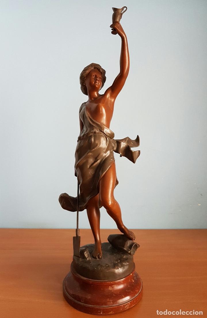 Arte: Gran escultura en calamina con patina de bronce, del escultor Joseph Berthoz, XIX . - Foto 6 - 73525203