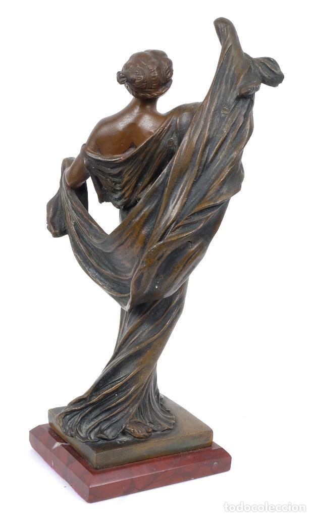 Arte: Dama en calamina patinada en bronce principios siglo XX - Foto 2 - 78352057