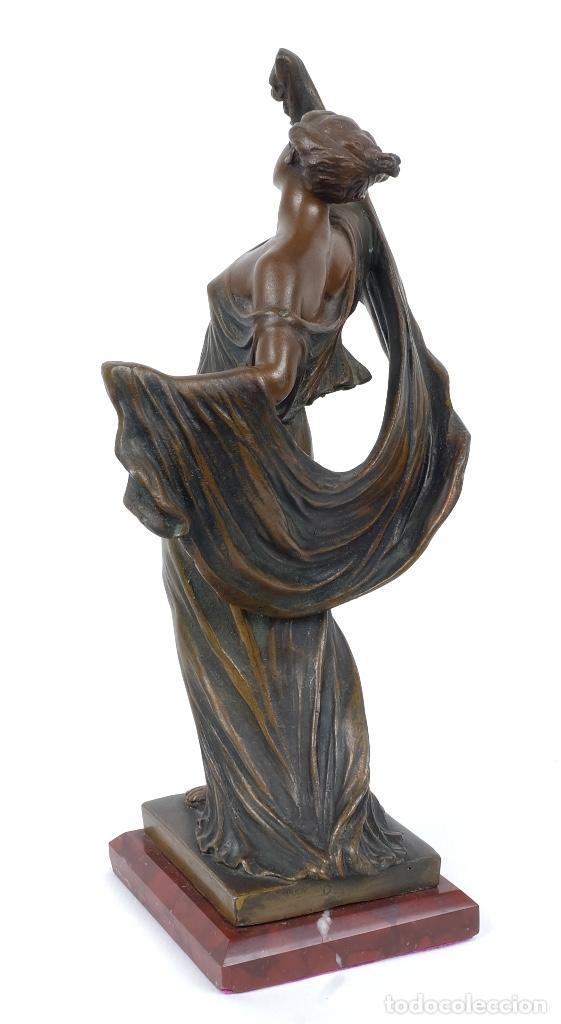 Arte: Dama en calamina patinada en bronce principios siglo XX - Foto 3 - 78352057