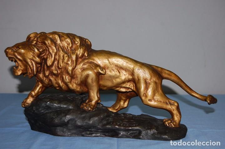 PRECIOSO LEON EN CALAMINA FIRMADO CARTIER DE 1920 (Arte - Escultura - Otros Materiales)