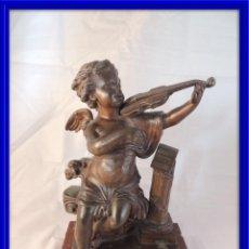 Arte: FIGURA CALAMINA ANGELOTE TOCANDO EL VIOLIN SOBRE MARMOL. Lote 100116131