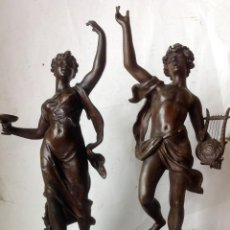 Arte: 2 MAGNIFICAS ESCULTURAS EN CALAMINA , SIGLO XIX , FIRMADAS - ORFEO Y GALATEA . Lote 108901815